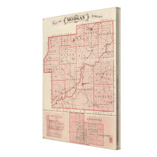 Mapa del condado de Morgan con Mooresville Impresiones En Lona Estiradas
