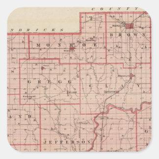 Mapa del condado de Morgan con Mooresville Pegatina Cuadrada