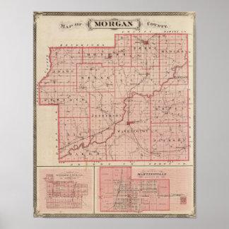 Mapa del condado de Morgan con Mooresville Póster