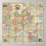 Mapa del condado de Norfolk, Massachusetts Póster
