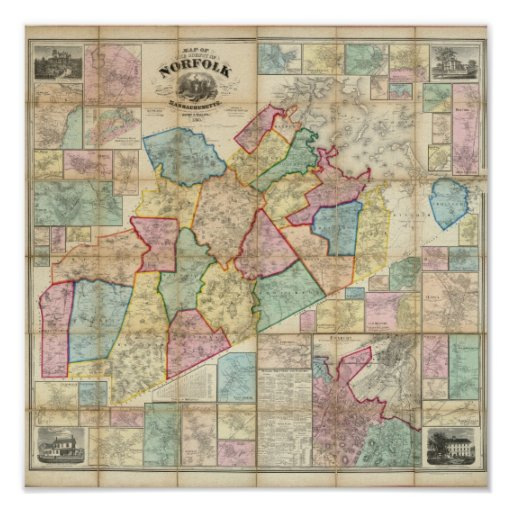 Mapa del condado de Norfolk, Massachusetts Poster