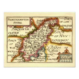"""Mapa del condado de Northamptonshire, Inglaterra Invitación 4.25"""" X 5.5"""""""