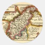 Mapa del condado de Northamptonshire, Inglaterra Pegatina Redonda