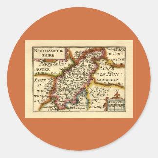 Mapa del condado de Northamptonshire, Inglaterra Etiquetas Redondas