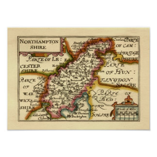 Mapa del condado de Northamptonshire, Inglaterra Póster