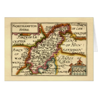 Mapa del condado de Northamptonshire, Inglaterra Tarjeta De Felicitación