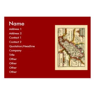 Mapa del condado de Northamptonshire, Inglaterra Tarjetas De Visita Grandes