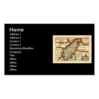 Mapa del condado de Northamptonshire, Inglaterra Tarjetas De Visita