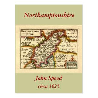 Mapa del condado de Northamptonshire, Inglaterra Postales