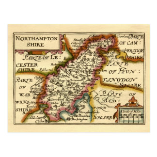 Mapa del condado de Northamptonshire, Inglaterra Tarjetas Postales