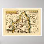 Mapa del condado de Northumberland, Inglaterra Poster