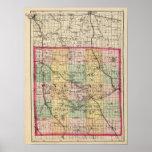 Mapa del condado de Oakland, Michigan Póster