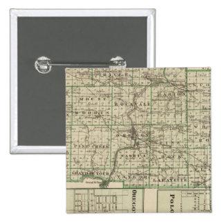 Mapa del condado de Ogle, polo y de Oregon Pin Cuadrado