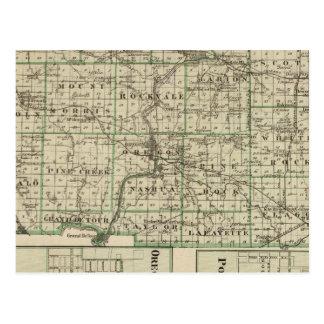 Mapa del condado de Ogle, polo y de Oregon Tarjetas Postales