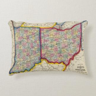 Mapa del condado de Ohio, y de Indiana Cojín Decorativo