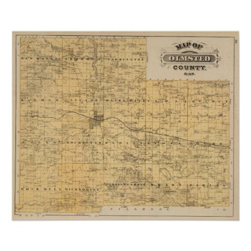 Mapa del condado de Olmsted, Minnesota Posters