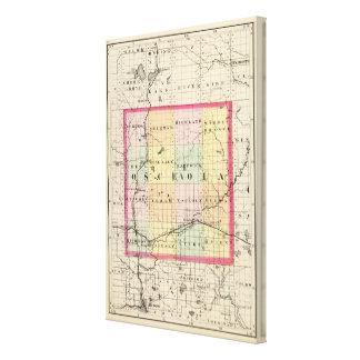 Mapa del condado de Osceola, Michigan Lona Envuelta Para Galerías