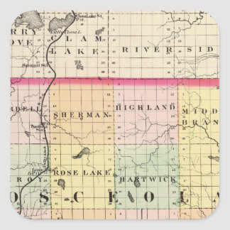 Mapa del condado de Osceola, Michigan Pegatina Cuadrada