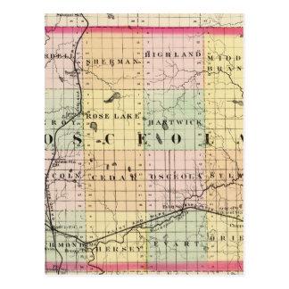 Mapa del condado de Osceola, Michigan Tarjetas Postales