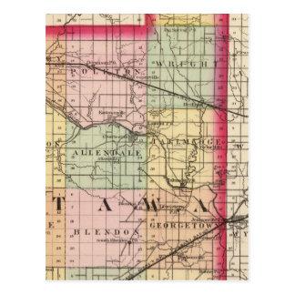 Mapa del condado de Ottawa, Michigan Tarjeta Postal