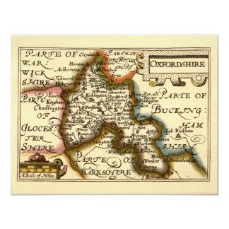 """Mapa del condado de Oxfordshire, Inglaterra Invitación 4.25"""" X 5.5"""""""