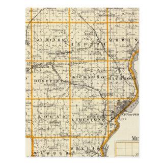 Mapa del condado de Peoria y de Minonk Postales