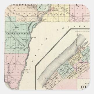 Mapa del condado de Pepin y del pueblo de Durand Pegatina Cuadrada