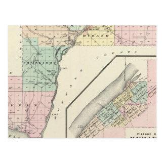 Mapa del condado de Pepin y del pueblo de Durand Postales