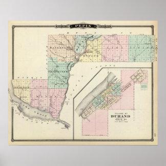 Mapa del condado de Pepin y del pueblo de Durand Póster