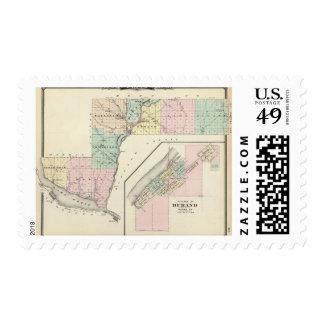 Mapa del condado de Pepin y del pueblo de Durand Sello Postal