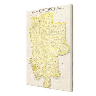 Mapa del condado de Perry Impresión En Lienzo Estirada