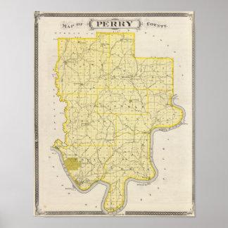 Mapa del condado de Perry Póster