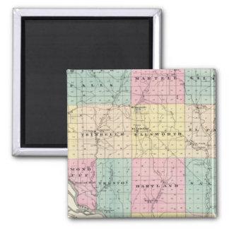 Mapa del condado de Pierce y de Ellsworth Imán Cuadrado