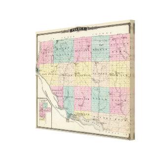 Mapa del condado de Pierce y de Ellsworth Lona Envuelta Para Galerías