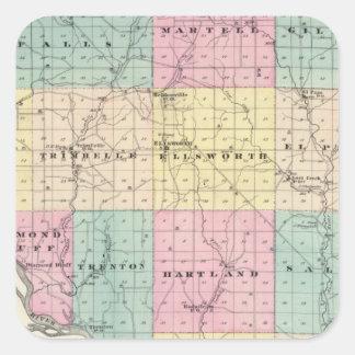 Mapa del condado de Pierce y de Ellsworth Pegatina Cuadrada