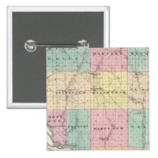 Mapa del condado de Pierce y de Ellsworth Pin Cuadrado