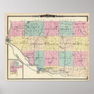 Mapa del condado de Pierce y de Ellsworth Póster