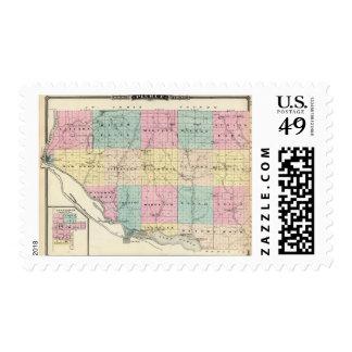Mapa del condado de Pierce y de Ellsworth Timbre Postal
