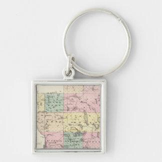 Mapa del condado de Polk, estado de Wisconsin Llavero Cuadrado Plateado