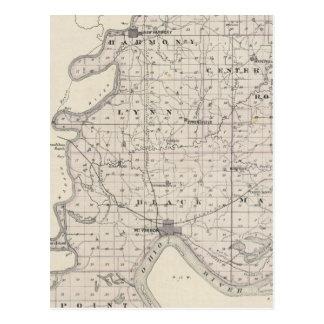 Mapa del condado de Posey Postal
