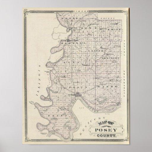 Mapa del condado de Posey Poster