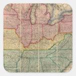 Mapa del condado de Railroadand de Colton, Estados Pegatina Cuadrada