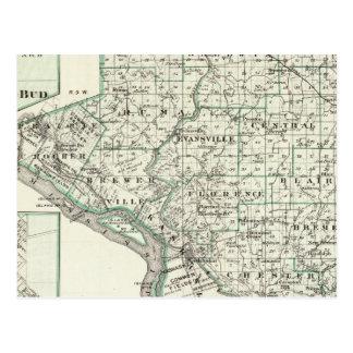 Mapa del condado de Randolph, brote rojo y de Ches Postales