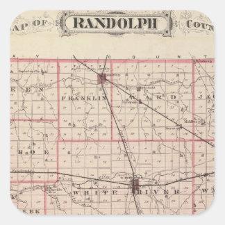 Mapa del condado de Randolph Calcomanías Cuadradass
