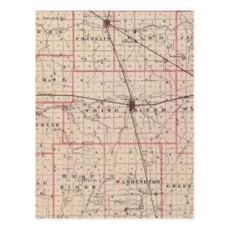 Mapa del condado de Randolph Tarjeta Postal