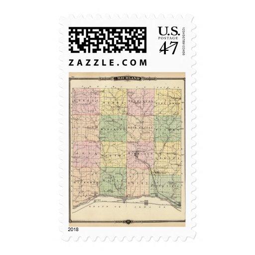 Mapa del condado de Richland, estado de Wisconsin Sello Postal