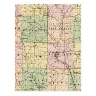 Mapa del condado de Richland, estado de Wisconsin Postal