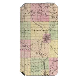 Mapa del condado de Rock, estado de Wisconsin Funda Cartera Para iPhone 6 Watson