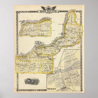 Mapa del condado de Rock Island y de Dixon Poster