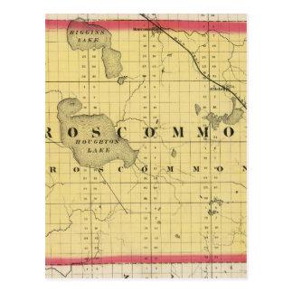 Mapa del condado de Roscommon, Michigan Tarjetas Postales
